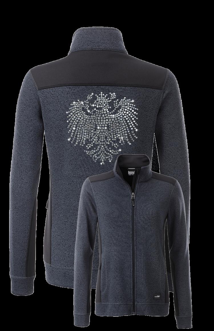 Designer Damen Strickfleece Jacke mit Stehkragen – veredelt mit 1700 Strasssteinen Adler Tirol Höhe 25 cm